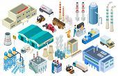 Isometric Industrial Buildings, Workers, Delivery Trucks, Factory And Warehouse Vector Collection. I poster