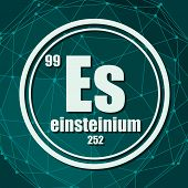 Einsteinium Chemical Element. Sign With Atomic Number And Atomic Weight. Chemical Element Of Periodi poster