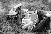 Romantic Couple Family Enjoy Leisure With Poetry Or Literature Grass Background. Couple Soulmates At poster
