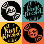 Vector Set Of Music Posters Or Logos In The Form Of Vinyl Records With Calligraphic Inscriptions Vin poster