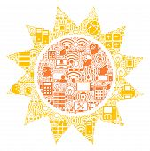 Sun Collage Icon Created For Bigdata And Computing Purposes. Vector Sun Mosaics Are Organized From C poster