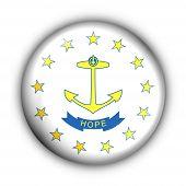 Bandeira de redondo botão EUA estado de Rhode Island