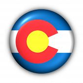 Round Button Usa State Flag Of Colorado