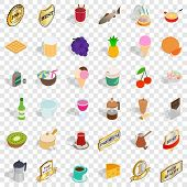 Beverage Icons Set. Isometric Style Of 36 Beverage Icons For Web For Any Design poster