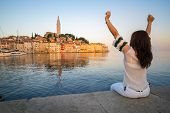 Romantic Old Town Of Rovinj In Croatia, Europe. poster