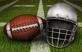 An American Football And A Football Helmet Lean Against Each Other On The Fifty Yard Line. 3d Illust poster