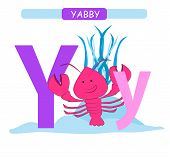Letter Y And Funny Cartoon Yabby. Animals Alphabet A-z. Cute Zoo Alphabet In Vector For Kids Learnin poster
