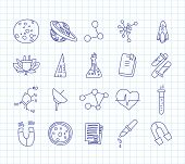 Cute Cartoon Icons On Science, School, Study Theme. Physics, Chemistry, Astronomy And Other Sciences poster