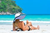 Sexy Woman In Bikini Enjoy Tropical Vacation. Girl In Hat Relaxing On Summer Holiday. Girl With Perf poster