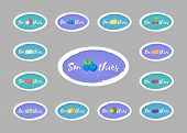 Collection Of Smoothie Drink Sticker Vector Illustration. Hand Drawn Sign Smoothies On Color Backgro poster