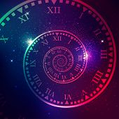 Concept Of Space Of Time In The Universe, Spiral Clock With Galaxy Star Background poster