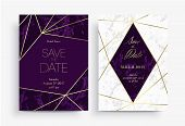 Two Save The Date Card Template. Geometric Design. Set Of Invitation To A Wedding Party. White And P poster