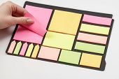 Blank Note Paper Set Of Different Colours Forms And Sizes. Sticky Notes Collection On Black Backgrou poster