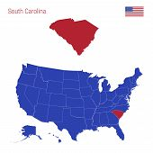 The State Of South Carolina Is Highlighted In Red. Blue Vector Map Of The United States Divided Into poster