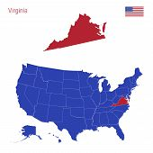 The State Of Virginia Is Highlighted In Red. Blue Vector Map Of The United States Divided Into Separ poster