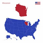 The State Of Wisconsin Is Highlighted In Red. Blue Vector Map Of The United States Divided Into Sepa poster