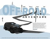 Off-road Car Banner. Off-roading Suv Adventure, Extreme Competition Leaflet And Car Club Advertising poster