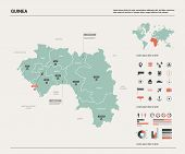 Vector Map Of Guinea.  High Detailed Country Map With Division, Cities And Capital Conakry. Politica poster