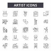 Artist Line Icons, Signs Set, Vector. Artist Outline Concept, Illustration: Artist, Paint, Color, Ar poster