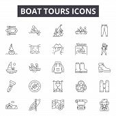 Boat Tours Line Icons, Signs Set, Vector. Boat Tours Outline Concept, Illustration: Travel, Boat, To poster