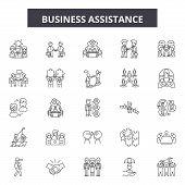 Business Assistance Line Icons, Signs Set, Vector. Business Assistance Outline Concept, Illustration poster