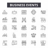 Business Events Line Icons, Signs Set, Vector. Business Events Outline Concept, Illustration: Busine poster
