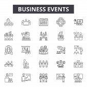 Business Events Line Icons, Signs Set, Vector. Business Events Outline Concept, Illustration: Busine poster
