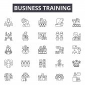 Business Training Line Icons, Signs Set, Vector. Business Training Outline Concept, Illustration: Tr poster
