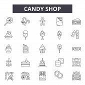 Candy Shop Line Icons, Signs Set, Vector. Candy Shop Outline Concept, Illustration: Candy, Shop, Foo poster