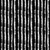 Abstract Seamless Pattern With Paint Brush Lines. Black And White Striped Background With Grunge Str poster