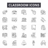 Classroom Line Icons, Signs Set, Vector. Classroom Outline Concept, Illustration: Classroom, Teacher poster