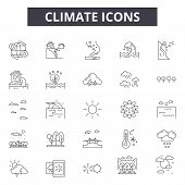Climate Line Icons, Signs Set, Vector. Climate Outline Concept, Illustration: Climate, Weather, Cold poster