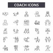 Coach Line Icons, Signs Set, Vector. Coach Outline Concept, Illustration: Business, Training, Coach, poster