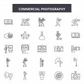 Commercial Photography Line Icons, Signs Set, Vector. Commercial Photography Outline Concept, Illust poster