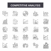 Competitive Analysis Line Icons, Signs Set, Vector. Competitive Analysis Outline Concept, Illustrati poster