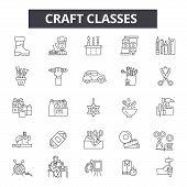 Craft Classes Line Icons, Signs Set, Vector. Craft Classes Outline Concept, Illustration: Class, Edu poster