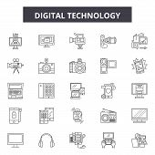 Digital Technology Line Icons, Signs Set, Vector. Digital Technology Outline Concept, Illustration:  poster