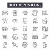 Documents Line Icons, Signs Set, Vector. Documents Outline Concept, Illustration: File, Paper, Docum poster
