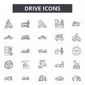 Drive Line Icons, Signs Set, Vector. Drive Outline Concept, Illustration: Car, Auto, Drive, Vehicle, poster