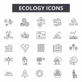Ecology Line Icons, Signs Set, Vector. Ecology Outline Concept, Illustration: Nature, Ecology, Green poster