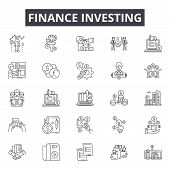 Finance Investing Line Icons, Signs Set, Vector. Finance Investing Outline Concept, Illustration: Mo poster