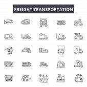 Freight Transportation Line Icons, Signs Set, Vector. Freight Transportation Outline Concept, Illust poster