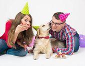 Golden Retriever Dog Kissed His Owner. Friendship. Love. Family. Friendship. Love. Studio Portrait O poster