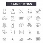 France Line Icons, Signs Set, Vector. France Outline Concept, Illustration: France, Travel, Europe,  poster