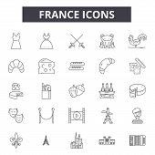 France Line Icons, Signs Set, Vector. France Outline Concept, Illustration: France, Travel, Europe,  poster