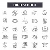 High School Line Icons, Signs Set, Vector. High School Outline Concept, Illustration: School, Educat poster