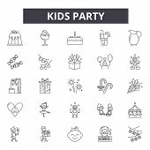 Kids Party Line Icons, Signs Set, Vector. Kids Party Outline Concept, Illustration: Party, Celebrati poster