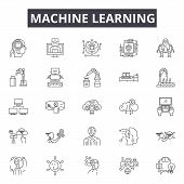 Machine Learning System Line Icons, Signs Set, Vector. Machine Learning System Outline Concept, Illu poster