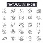 Natural Sciences Line Icons, Signs Set, Vector. Natural Sciences Outline Concept, Illustration: Scie poster