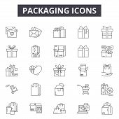 Packaging Line Icons, Signs Set, Vector. Packaging Outline Concept, Illustration: Package, Box, Cont poster